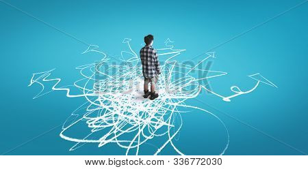 Man Standing On Drawn Arrows Leading To Different Directions. The Concept Of Variety Of Choices