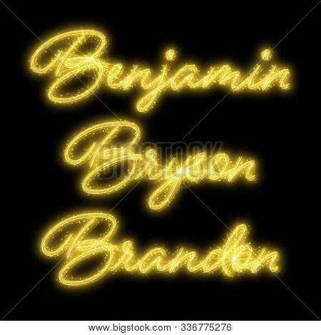 Male Names Made Of Sparkler. Design Element For Birthday Card, Bachelor Party Or Wedding Invitation