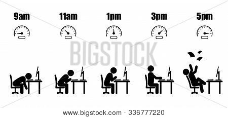 Working Hours Life Cycle From Nine Am To Five Pm Concept In Black Stick Figure Sitting At Office Des