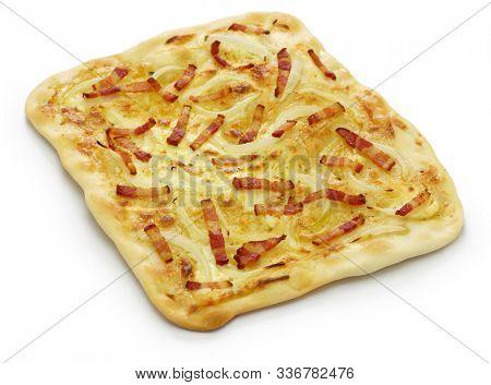 traditional alsatian pie, tart flambe, flammekueche, bacon onion cream cheese pizza