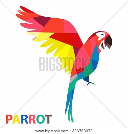 One Red Macaw With Green And Blue Wings Low Polygon Isolated On White Background. Stylized Illustrat