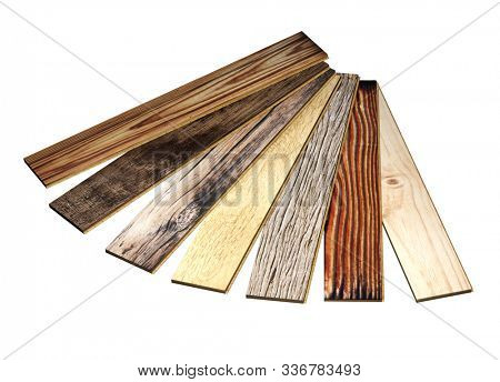 Planks of new parquet of different colors. Isolated on white background. 3d render