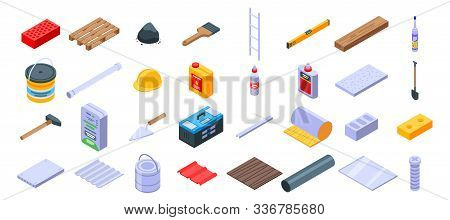 Construction Materials Icons Set. Isometric Set Of Construction Materials Vector Icons For Web Desig