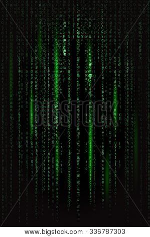 Dark Green Binary Code In Matrix Style With Light Green Highlights On Black Background Texture Backg