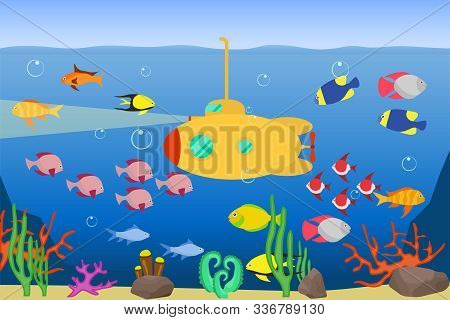 A Yellow Submarine Floats Underwater And Illuminates The Seabed. Yellow Submarine Floats In The Ocea