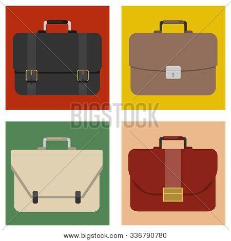 Briefcase, Mens Business Briefcase. Vector Illustration Briefcase