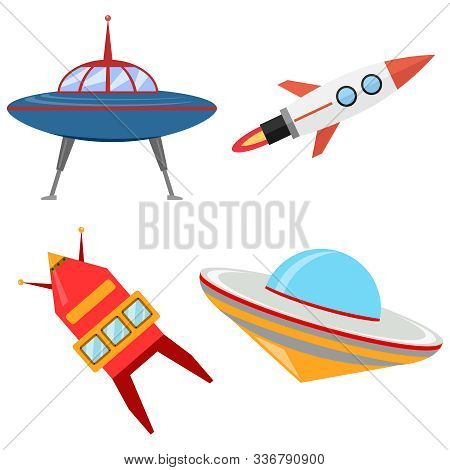 Spaceships, Alien Cartoon Spaceships. Vector Illustration Spaceships