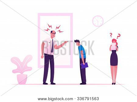 Angry Furious Boss Scolding And Rebuking Incompetent Employees In Office. Dissatisfied Ceo Shouting