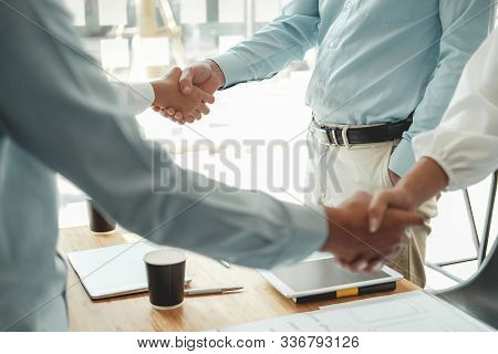 Businessman Shaking Hands After Meeting. Business People Handshaking. Greeting Deal, Teamwork Partne