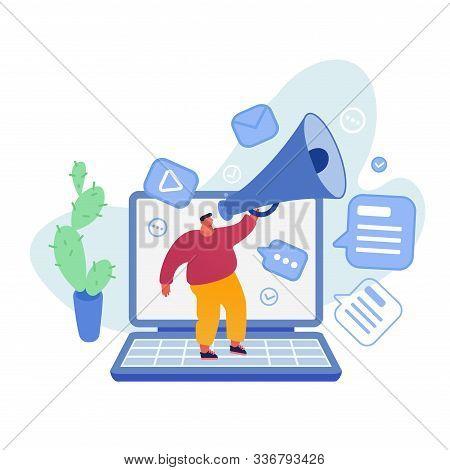 Man Stand On Huge Laptop Shout In Megaphone. Marketing Promotion, Communication, Pr Agency Alert Adv