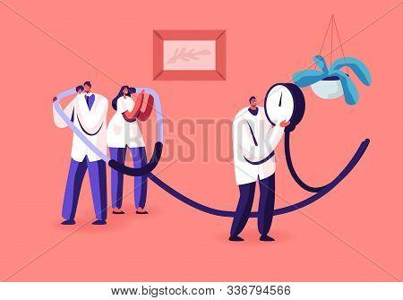 Measuring Of Arterial Blood Pressure, Cardiology Diseases Concept. Tiny Doctors Holding Huge Medical