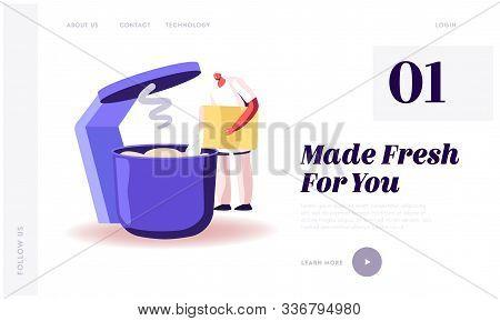Baking Industry Plant Website Landing Page. Worker Prepare Fresh Bread Pour Dough In Huge Mixer. Bak
