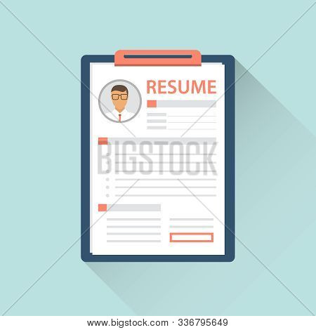 Resume, Realistic Resume Isolated On Green With Shadow. Vector Illustration Of The Resume.