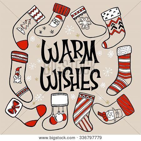 Vector Illustration Of An Assortment Of Christmas Stockings. Christmas Socks Set. Set Of Various Chr
