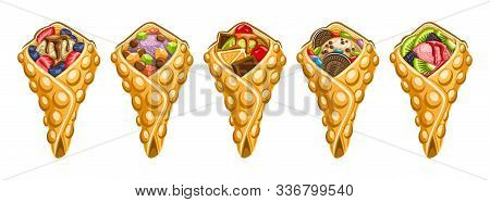 Vector Set Of Hong Kong Waffles, 5 Cut Out Illustration Of Delicious Bubble Waffles On White Backgro