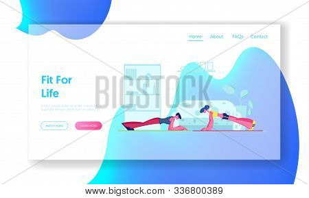 Family Couple Fitness Exercise Website Landing Page. Young Sporty Woman And Man Doing Plank At Home.