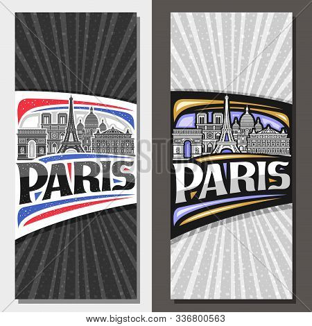 Vector Vertical Layouts For Paris With Copy Space, Brochure With Black And White Line Draw Of Paris