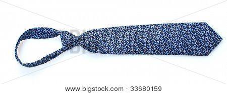 Elegant blue tie isolated on white