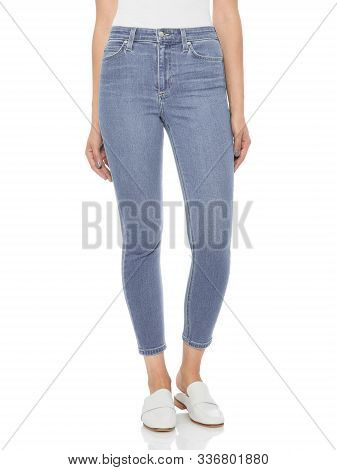 Casual Blue Denim For Women's Paired With Beautiful Pair Of Heels And White Background