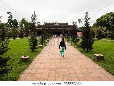 Hue, Vietnam - March 12, 2016: On The Grounds Of Thien Mu Pagoda, Historic Buddhist Temple Near Hue