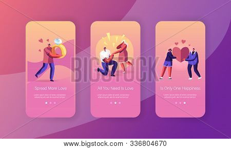 Love Engagement Mobile App Page Onboard Screen Set. Man Stand On Knee Making Proposal To Woman Askin