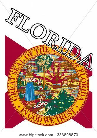 Text In Red And White Proclaiming Florida With A Shadow Backdrop Over The State Flag