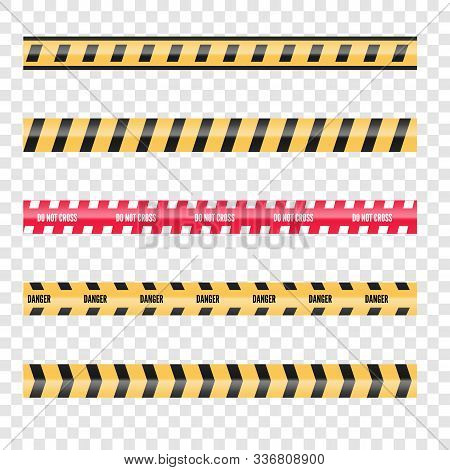 Set Of Caution Danger Tapes. Warning Security Vector. Barricade Lines.