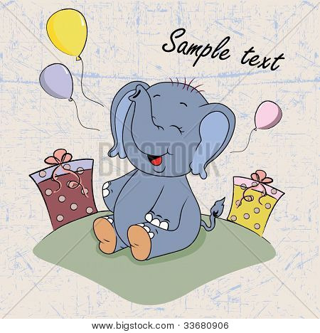 cartoon elephant baby with gifts
