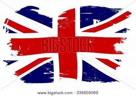 Union Jack The British Naval Flag With Hard Grunge Efect On A White Background