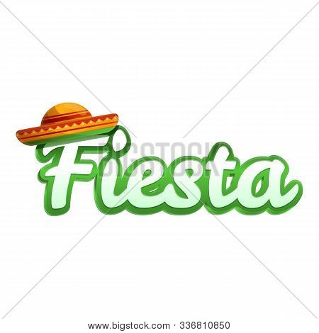Fiesta Text Icon. Cartoon Of Fiesta Text Vector Icon For Web Design Isolated On White Background