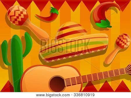 Mexican Fiesta Concept Banner. Cartoon Illustration Of Mexican Fiesta Vector Concept Banner For Web