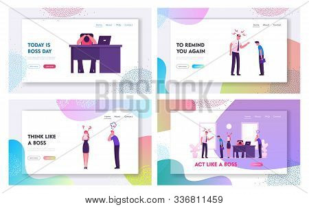 Angry Boss And Employees Conflict Situation Website Landing Page Set. Furious Director Or Ceo Yellin