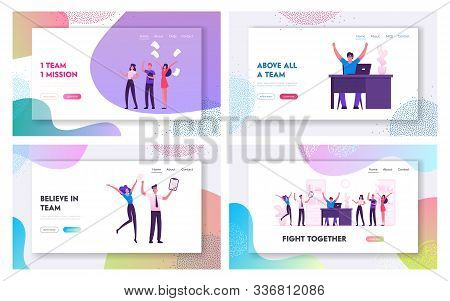 Happy Business Team Rejoice For Successful Deal Website Landing Page Set. Cheerful Businesspeople Ce