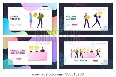 Cost Of Innovations Website Landing Page Set. People Buy And Sell Ideas. Business Transaction Light
