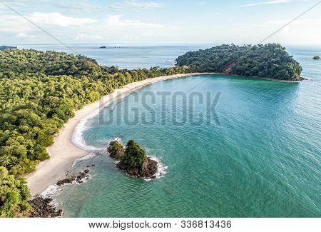 Aerial View Of Tropical Espadilla Beach And Coastline Near The Manuel Antonio National Park, Costa R