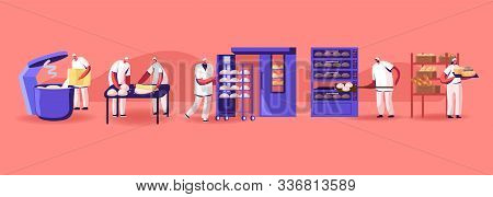 Bread Machinery Production. Industrial Process Equipment With Business Character Workers In Toques,