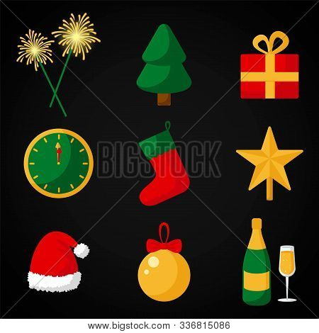 Vector New Year icons of clocks, chimes, Christmas tree, gift, champagne with a glass, Santa Claus caps, decorations. Symbols of the new year in a flat style poster