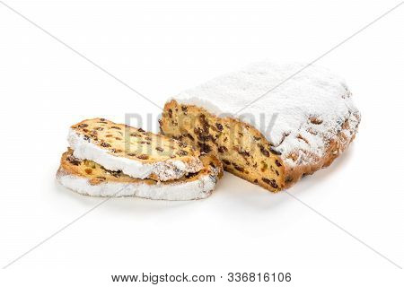 Christmas Stollen Isolated On White Background. Christmas Stollen Isolated On White Background. Swee