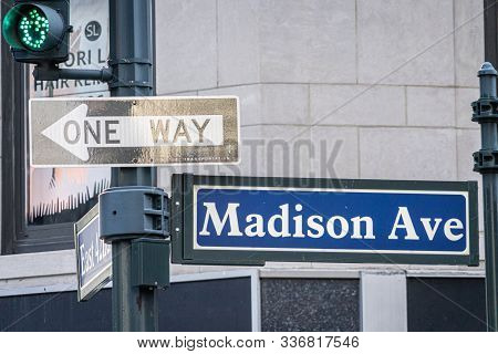 Madison Ave Street Sign In Midtown Manhattan