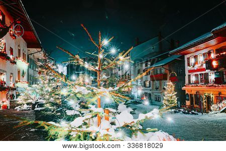 New Year Night Christmas Tree Medieval Town Of Gruyeres New
