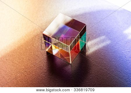 Optical Glass Cube Light Dispersion,spectrum. Physics Optics Ray Refractions