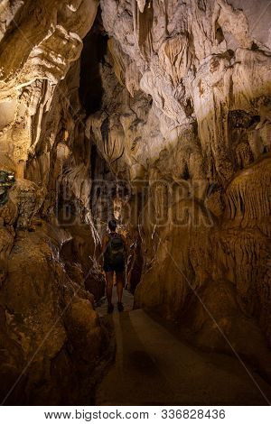 Dong Trung Trang Cave Vietnam Tourist Backpacker Exploring Inside Of A Cave