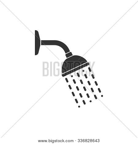 Shower Head With Trickles Water Graphic Icon. Douche Sign Isolated On White Background. Shower Symbo