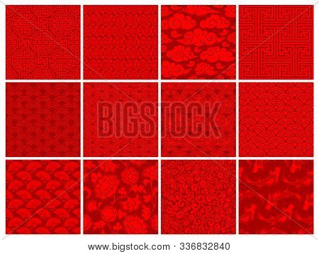 Set Of Oriental, Chinese Or Japanese, Seamless Patterns. Traditional Asian Ornaments Floral, Geometr