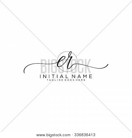 Er Initial Handwriting Logo With Circle Template Vector.