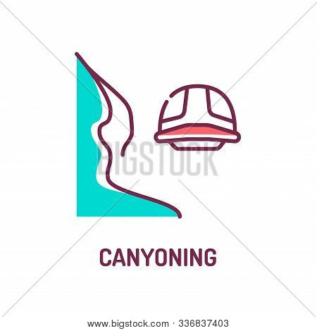 Canyoning Color Line Icon On White Background. Extreme. Canyon Climbing. Descent Into The Canyon. Pi