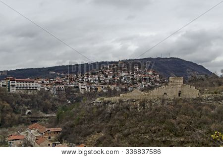 Springtime Panorama Of A Ruins Of Trapezitsa, Medieval Stronghold Located On A Hill With The Same Na