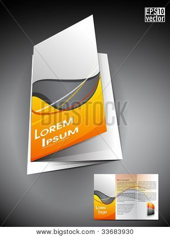 Professional 3D business flyer template or corporate brochure or cover design on grey and yellow wave  pattern with inner pages for publishing, print and presentation.EPS 10.