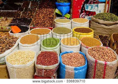 Essaouira, Morocco - December 11, 2018: Colorful Oriental Market In Morocco, Bags Of Spices And Nuts