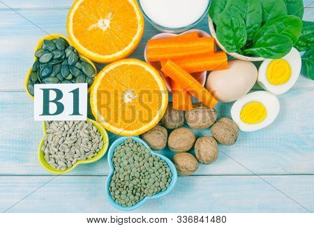 Ingredients Containing Vitamins B1 (thiamine). Ingredients Of A Healthy And Balanced Diet.